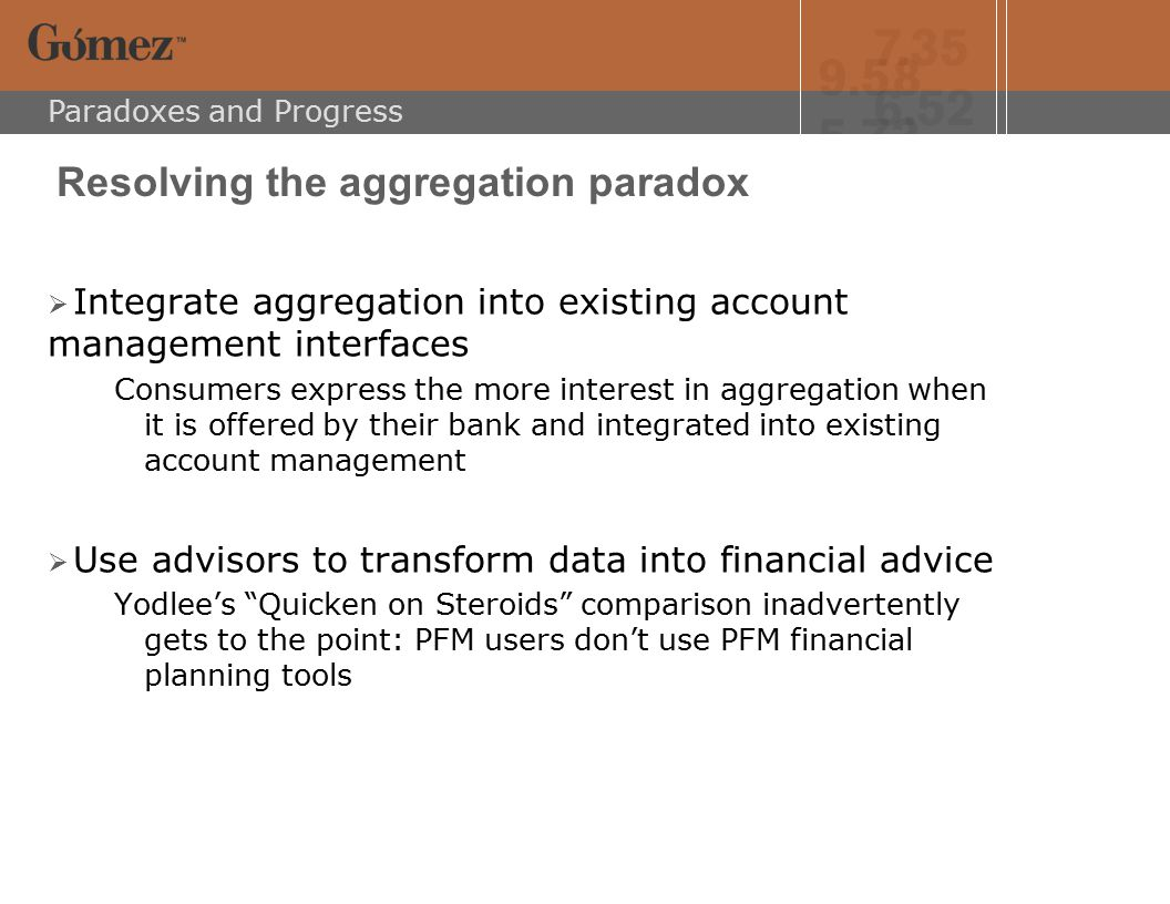 Paradoxes and Progress Resolving the aggregation paradox  Integrate aggregation into existing account management interfaces Consumers express the more interest in aggregation when it is offered by their bank and integrated into existing account management  Use advisors to transform data into financial advice Yodlee's Quicken on Steroids comparison inadvertently gets to the point: PFM users don't use PFM financial planning tools