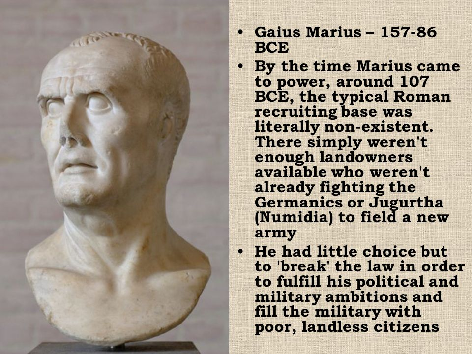 The opposition recruited a foe of Marius' named Sulla A Civil War (called the Social Wars because it pitted upper vs.