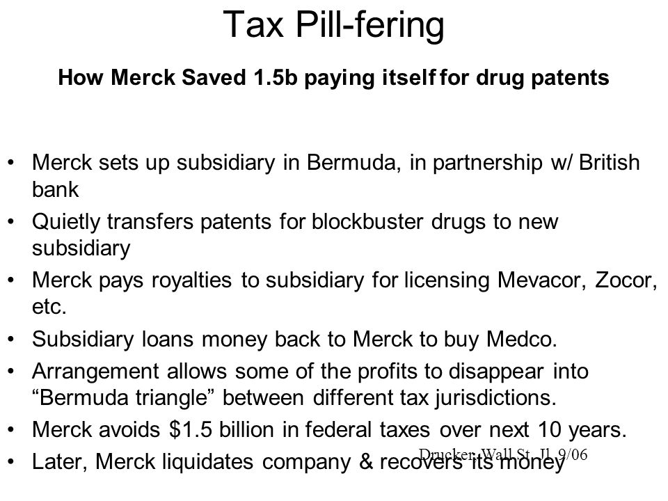 Tax Pill-fering How Merck Saved 1.5b paying itself for drug patents Merck sets up subsidiary in Bermuda, in partnership w/ British bank Quietly transfers patents for blockbuster drugs to new subsidiary Merck pays royalties to subsidiary for licensing Mevacor, Zocor, etc.