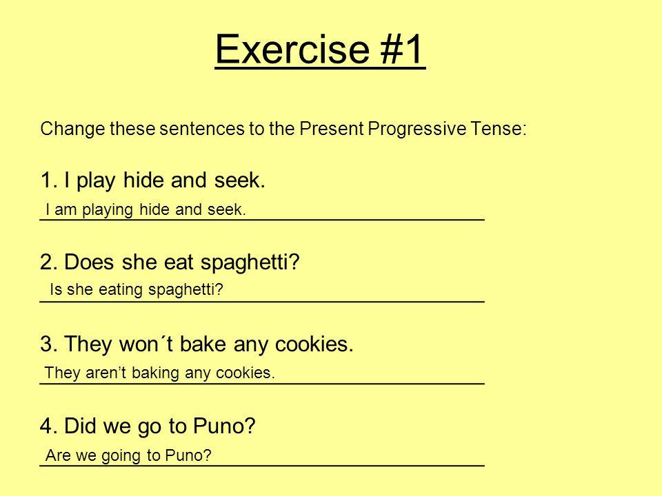Exercise #1 Change these sentences to the Present Progressive Tense: 1.