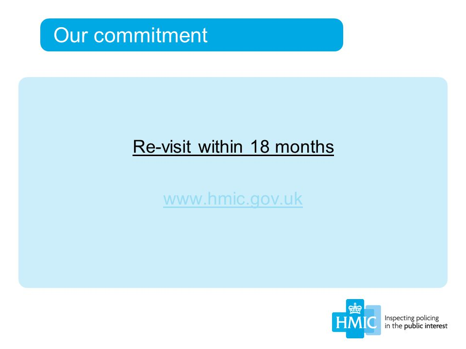 Our commitment Re-visit within 18 months www.hmic.gov.uk