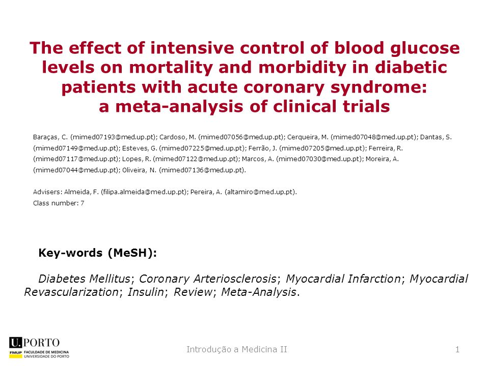 The effect of intensive control of blood glucose levels on mortality and morbidity in diabetic patients with acute coronary syndrome: a meta-analysis