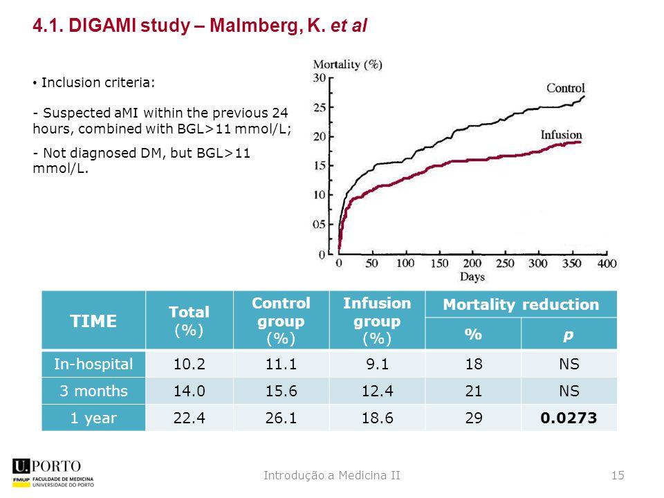 Introdução a Medicina II15 4.1. DIGAMI study – Malmberg, K.