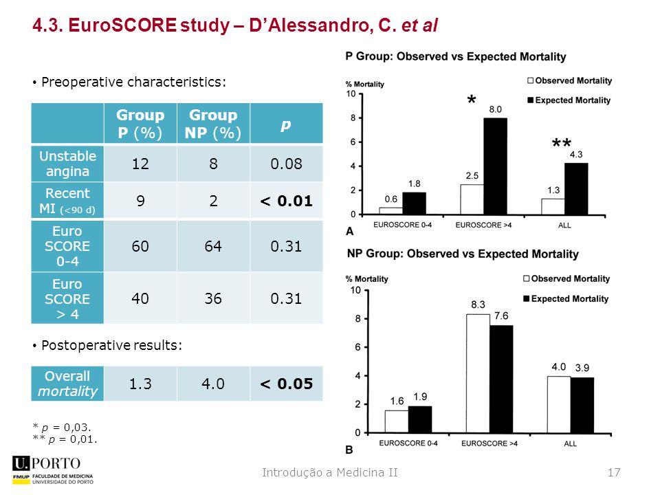 Introdução a Medicina II17 4.3. EuroSCORE study – D'Alessandro, C.
