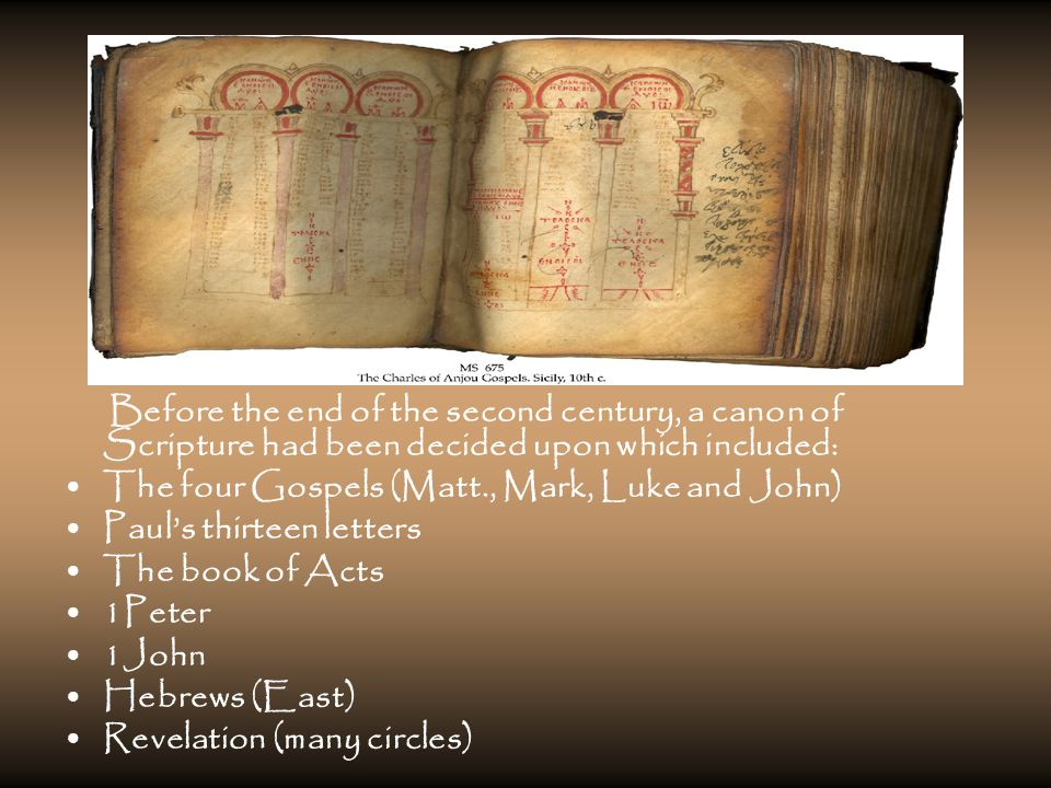 Before the end of the second century, a canon of Scripture had been decided upon which included: The four Gospels (Matt., Mark, Luke and John) Paul's thirteen letters The book of Acts 1Peter 1John Hebrews (East) Revelation (many circles)