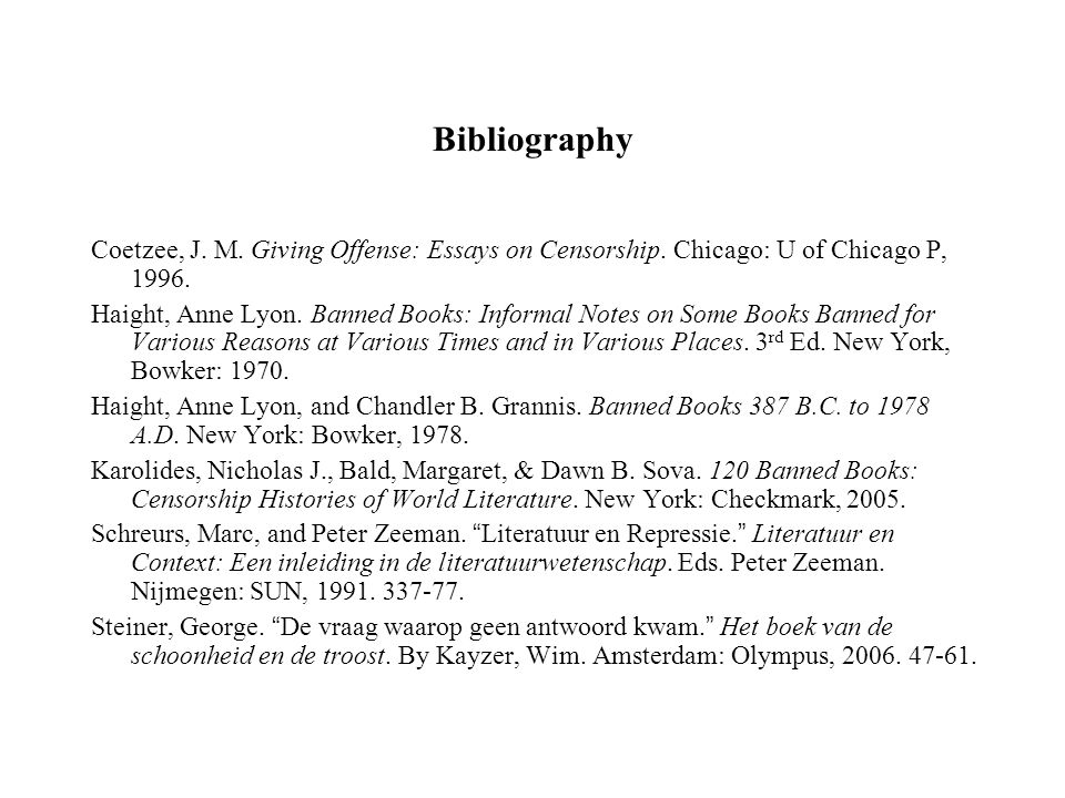 Bibliography Coetzee, J. M. Giving Offense: Essays on Censorship.