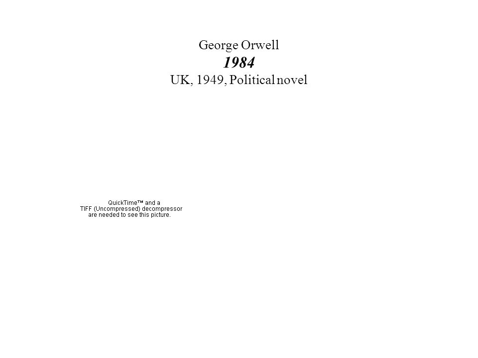 George Orwell 1984 UK, 1949, Political novel
