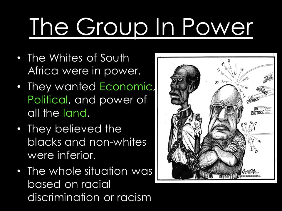 The Group In Power The Whites of South Africa were in power.