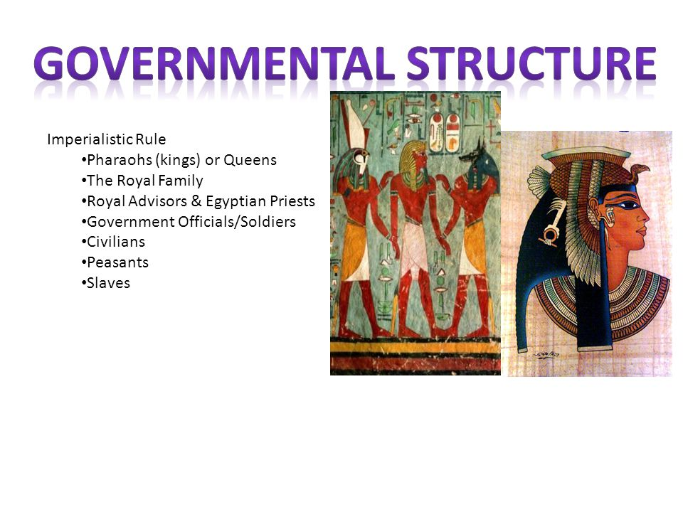 Imperialistic Rule Pharaohs (kings) or Queens The Royal Family Royal Advisors & Egyptian Priests Government Officials/Soldiers Civilians Peasants Slav