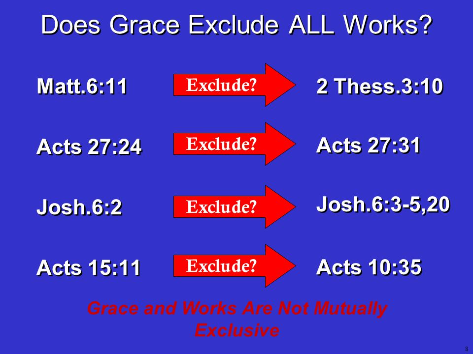 8 Grace and Works Are Not Mutually Exclusive Matt.6:11 Acts 27:24 Josh.6:2 Acts 15:11 Matt.6:11 Acts 27:24 Josh.6:2 Acts 15:11 Exclude.