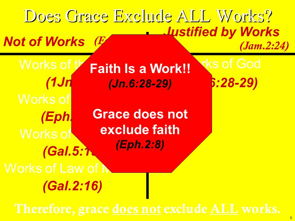 9 Works of the Devil (1Jn.3:8) Works of darkness (Eph.5:11) Works of the flesh (Gal.5:19) Works of Law of Moses (Gal.2:16) Not of Works Works of God (Jn.6:28-29) Justified by Works Therefore, grace does not exclude ALL works.