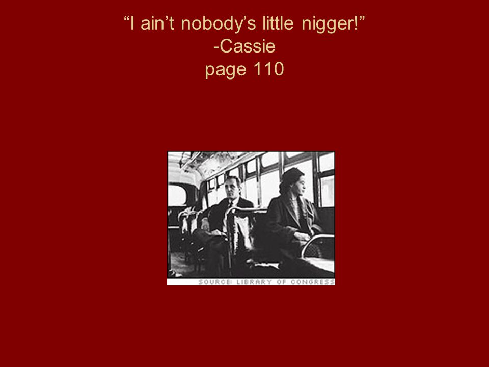 I ain't nobody's little nigger! -Cassie page 110