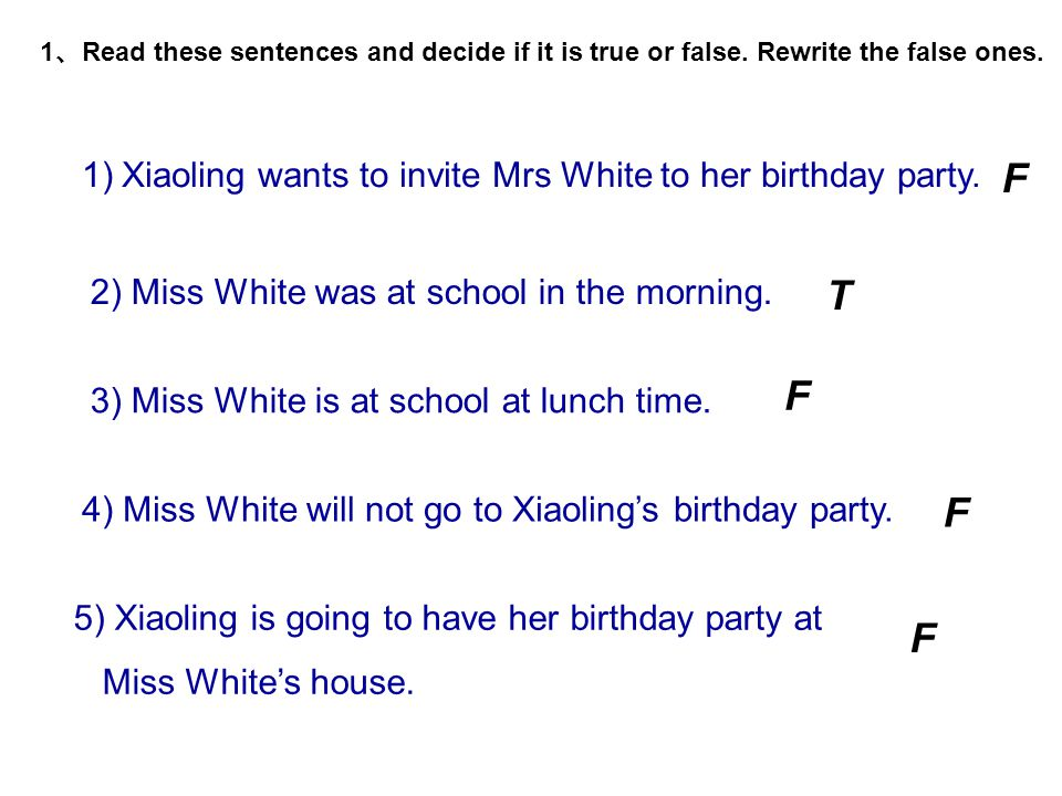 1.Who is on the telephone with Xiaoling at lunch time? 2.Where was Miss White in the morning ? 3.Who will have a birthday party ? 4.What time will the
