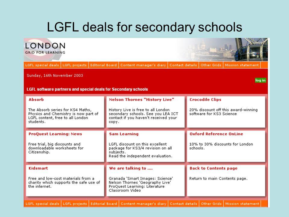 LGFL deals for secondary schools