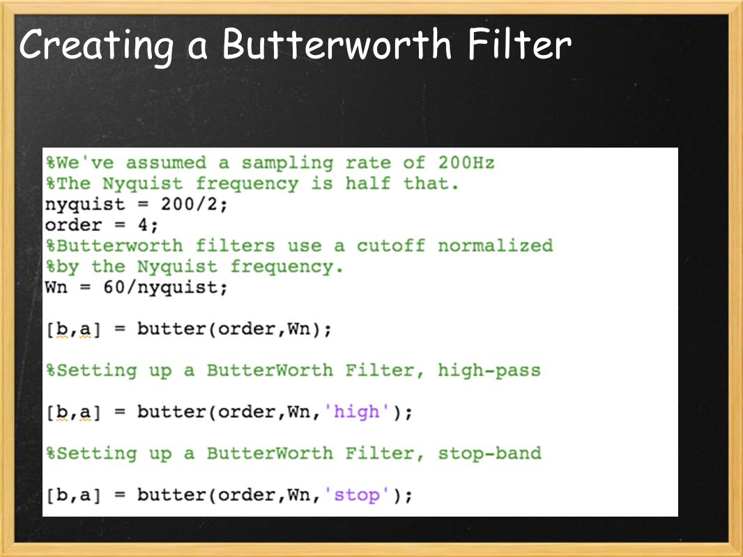 Creating a Butterworth Filter