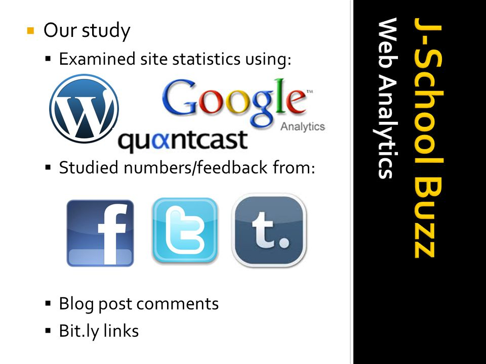  Our study  Examined site statistics using:  Studied numbers/feedback from:  Blog post comments  Bit.ly links