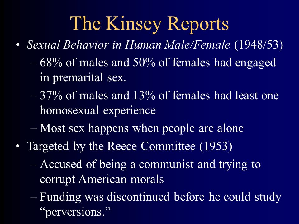 The Kinsey Reports Sexual Behavior in Human Male/Female (1948/53) –68% of males and 50% of females had engaged in premarital sex.