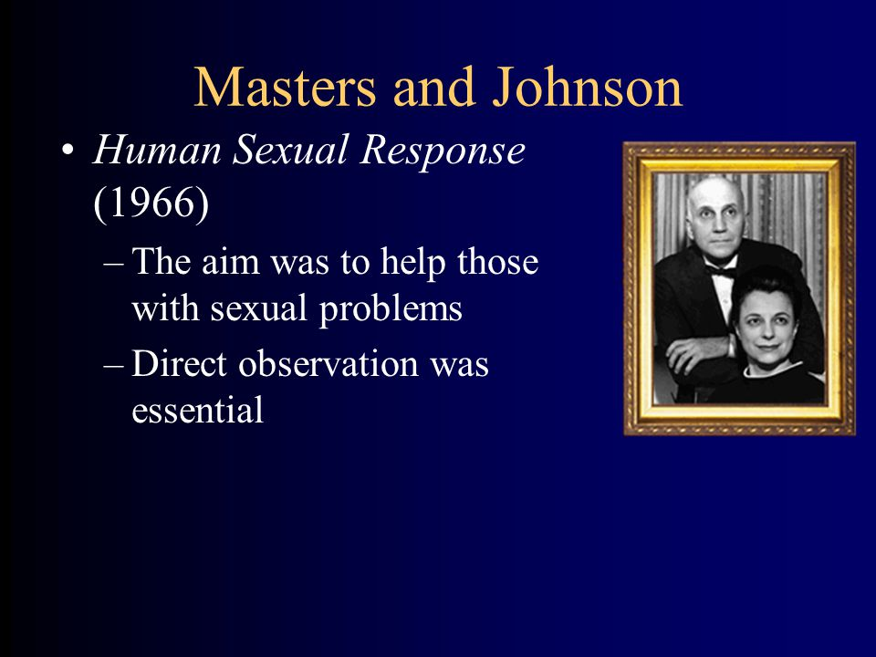 Masters and Johnson Human Sexual Response (1966) –The aim was to help those with sexual problems –Direct observation was essential