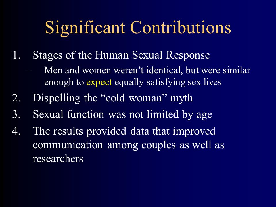 Significant Contributions 1.Stages of the Human Sexual Response –Men and women weren't identical, but were similar enough to expect equally satisfying sex lives 2.Dispelling the cold woman myth 3.Sexual function was not limited by age 4.The results provided data that improved communication among couples as well as researchers