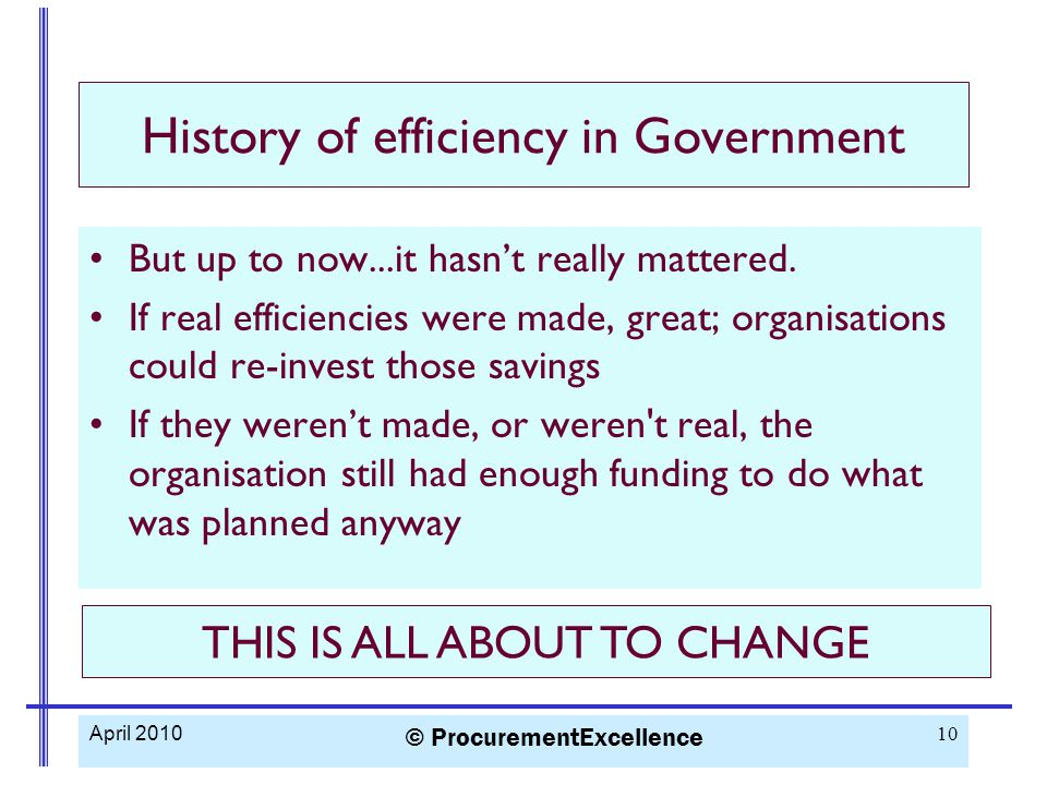 History of efficiency in Government But up to now...it hasn't really mattered.