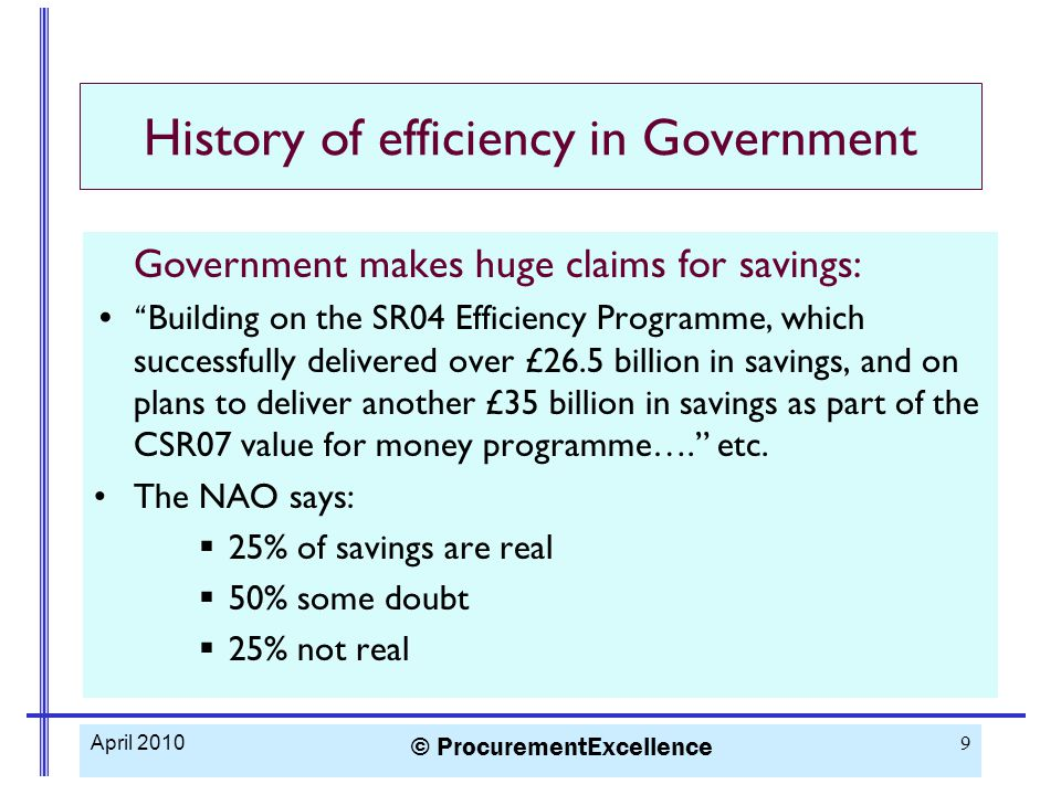 History of efficiency in Government Government makes huge claims for savings: Building on the SR04 Efficiency Programme, which successfully delivered over £26.5 billion in savings, and on plans to deliver another £35 billion in savings as part of the CSR07 value for money programme…. etc.