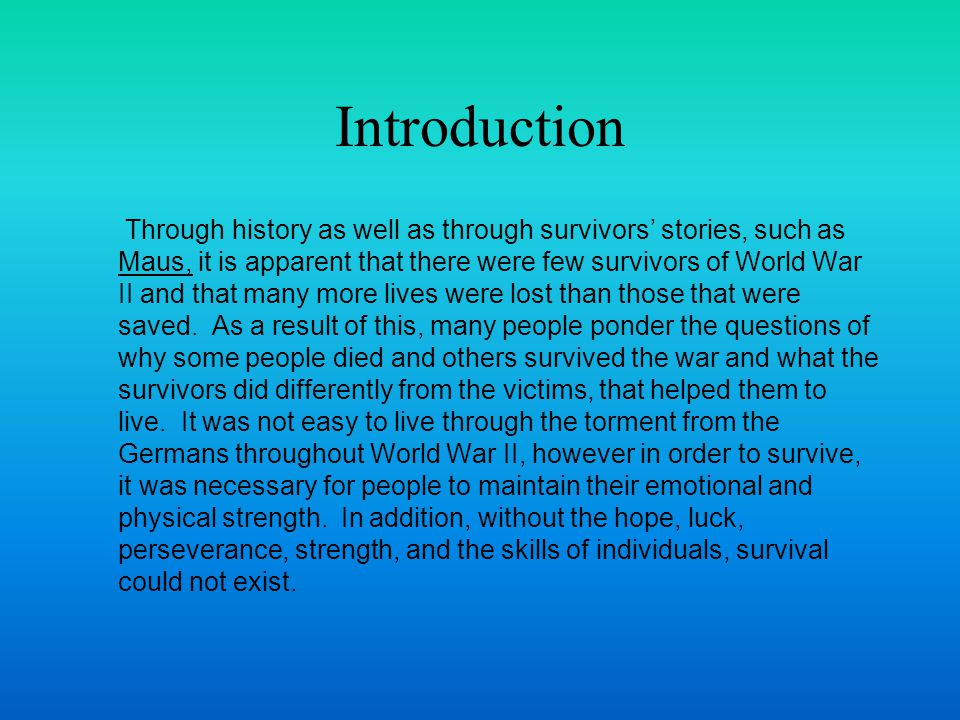 Ingredients for Survival Amanda Greene 03/25/04 American Studies 8/9