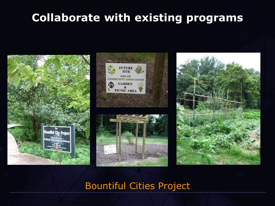 Collaborate with existing programs Bountiful Cities Project