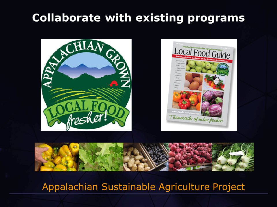 Collaborate with existing programs Appalachian Sustainable Agriculture Project