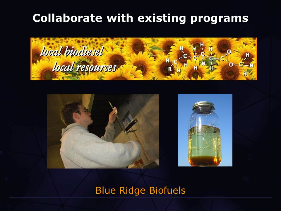 Collaborate with existing programs Blue Ridge Biofuels
