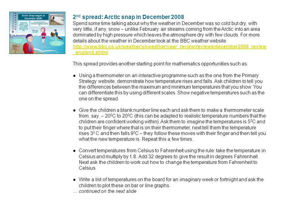 2 nd spread: Arctic snap in December 2008 continued… ●Focus on the section which mentions the sea freezing and explore this.