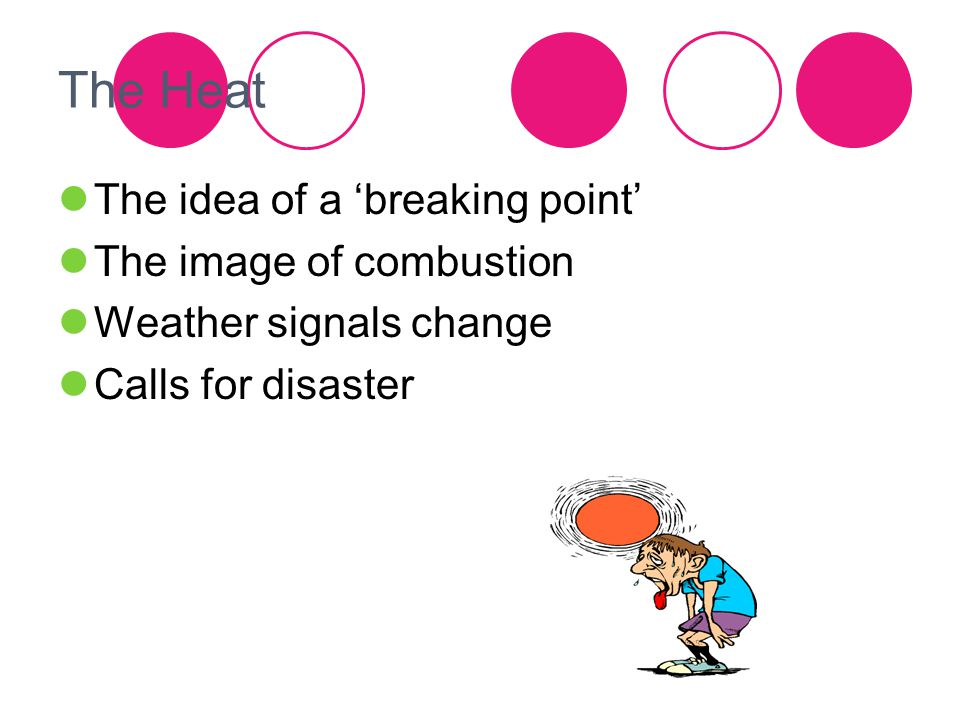 The Heat The idea of a 'breaking point' The image of combustion Weather signals change Calls for disaster