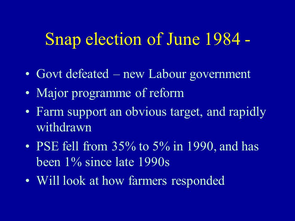 Snap election of June 1984 - Govt defeated – new Labour government Major programme of reform Farm support an obvious target, and rapidly withdrawn PSE