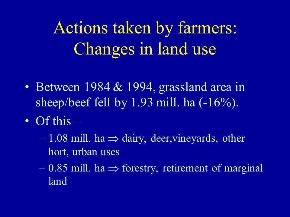 Actions taken by farmers: Changes in land use Between 1984 & 1994, grassland area in sheep/beef fell by 1.93 mill. ha (-16%). Of this – –1.08 mill. ha