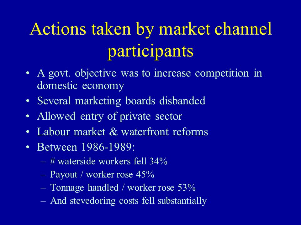 Actions taken by market channel participants A govt.