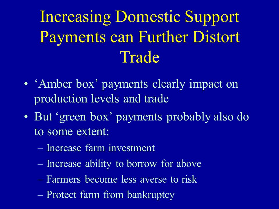 Increasing Domestic Support Payments can Further Distort Trade 'Amber box' payments clearly impact on production levels and trade But 'green box' payments probably also do to some extent: –Increase farm investment –Increase ability to borrow for above –Farmers become less averse to risk –Protect farm from bankruptcy