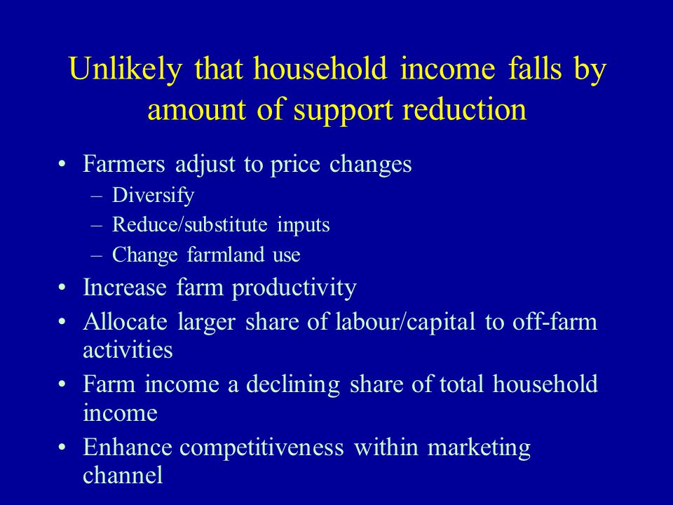 Unlikely that household income falls by amount of support reduction Farmers adjust to price changes –Diversify –Reduce/substitute inputs –Change farmland use Increase farm productivity Allocate larger share of labour/capital to off-farm activities Farm income a declining share of total household income Enhance competitiveness within marketing channel
