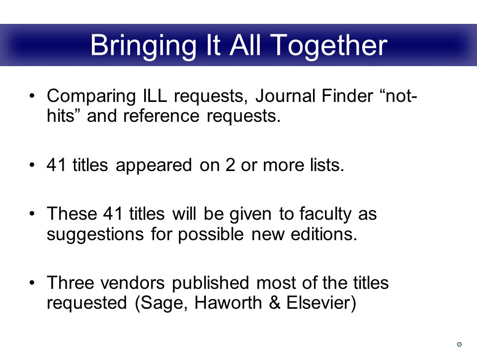 Bringing It All Together Comparing ILL requests, Journal Finder not- hits and reference requests.