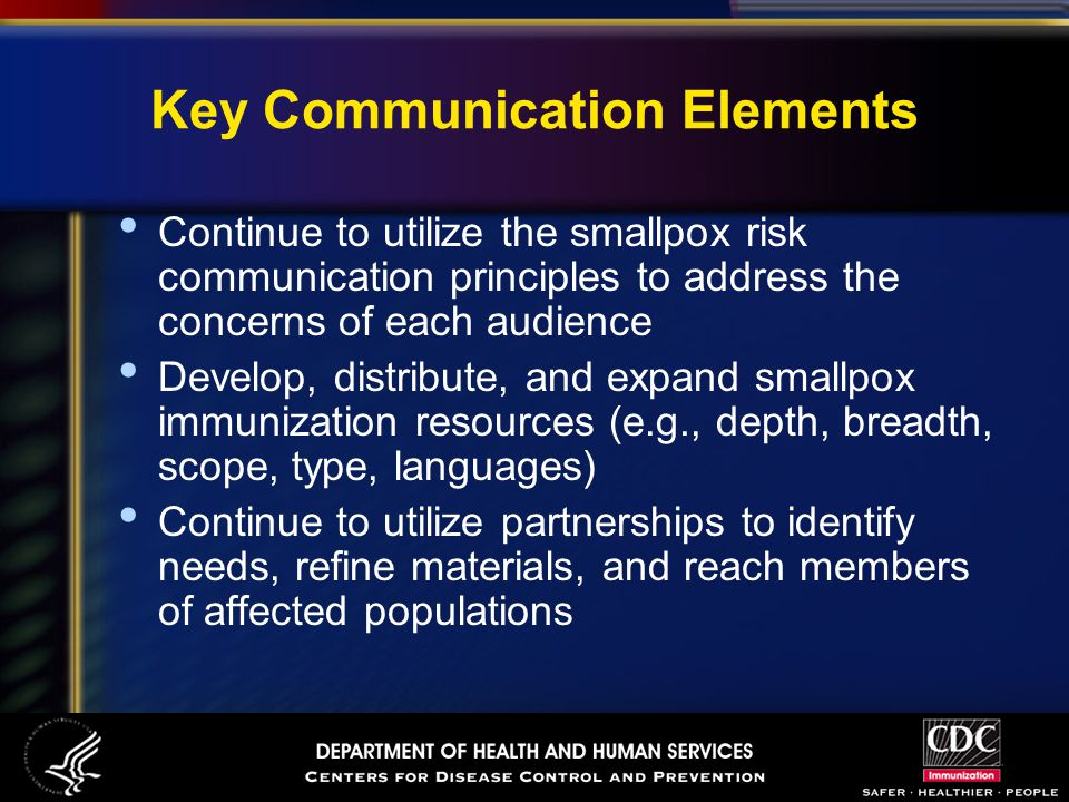 Key Communication Elements Continue to utilize the smallpox risk communication principles to address the concerns of each audience Develop, distribute, and expand smallpox immunization resources (e.g., depth, breadth, scope, type, languages) Continue to utilize partnerships to identify needs, refine materials, and reach members of affected populations