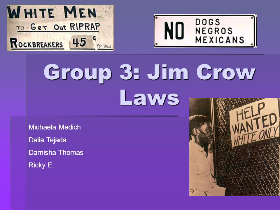 Group 3: Jim Crow Laws Michaela Medich Dalia Tejada Darnisha Thomas Ricky E.