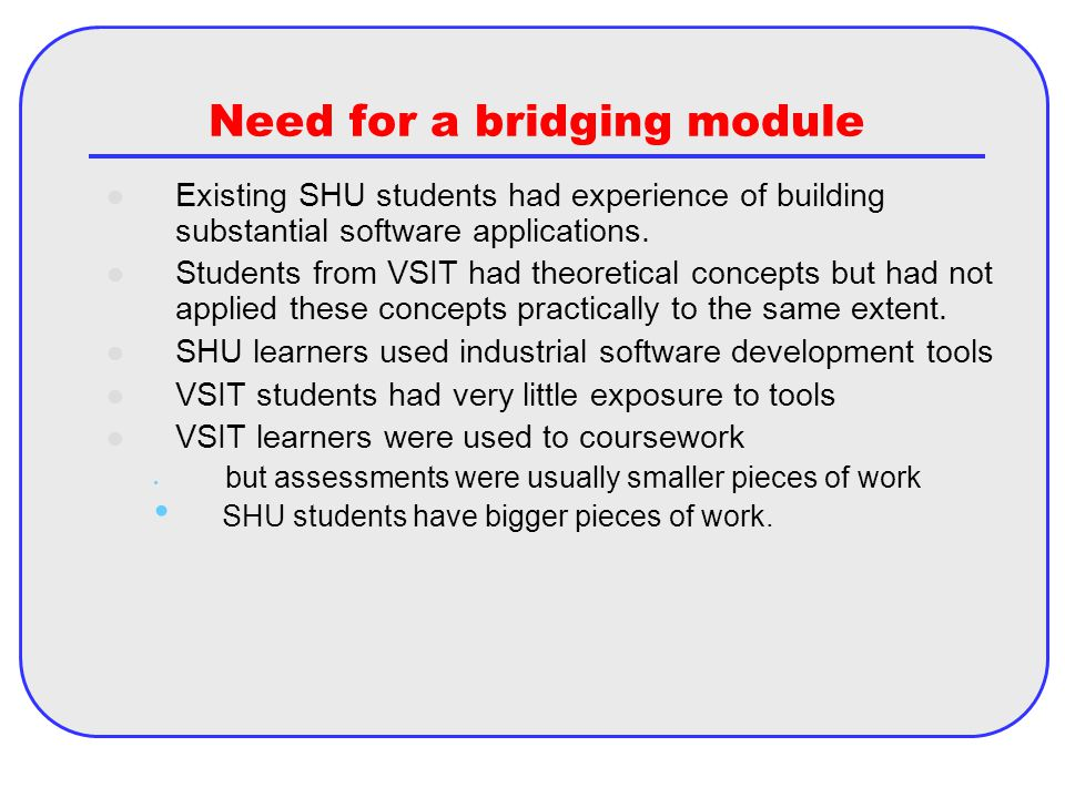 Need for a bridging module Existing SHU students had experience of building substantial software applications.