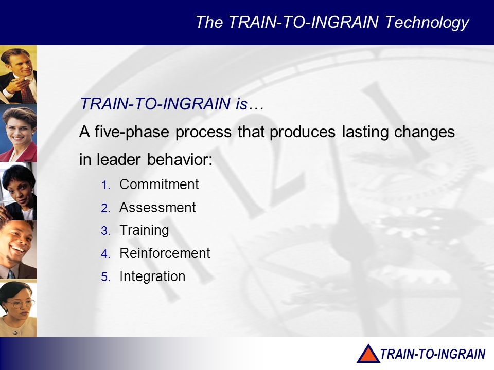 TRAIN-TO-INGRAIN TRAIN-TO-INGRAIN is… A five-phase process that produces lasting changes in leader behavior: 1.