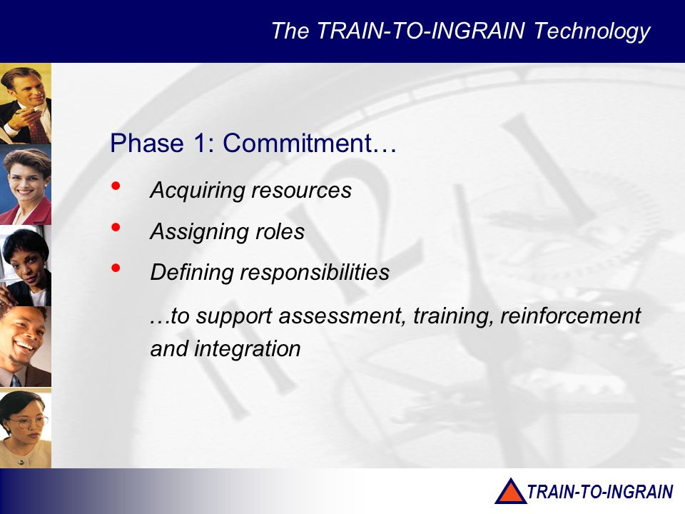 TRAIN-TO-INGRAIN The TRAIN-TO-INGRAIN Technology Phase 1: Commitment… Acquiring resources Assigning roles Defining responsibilities …to support assessment, training, reinforcement and integration