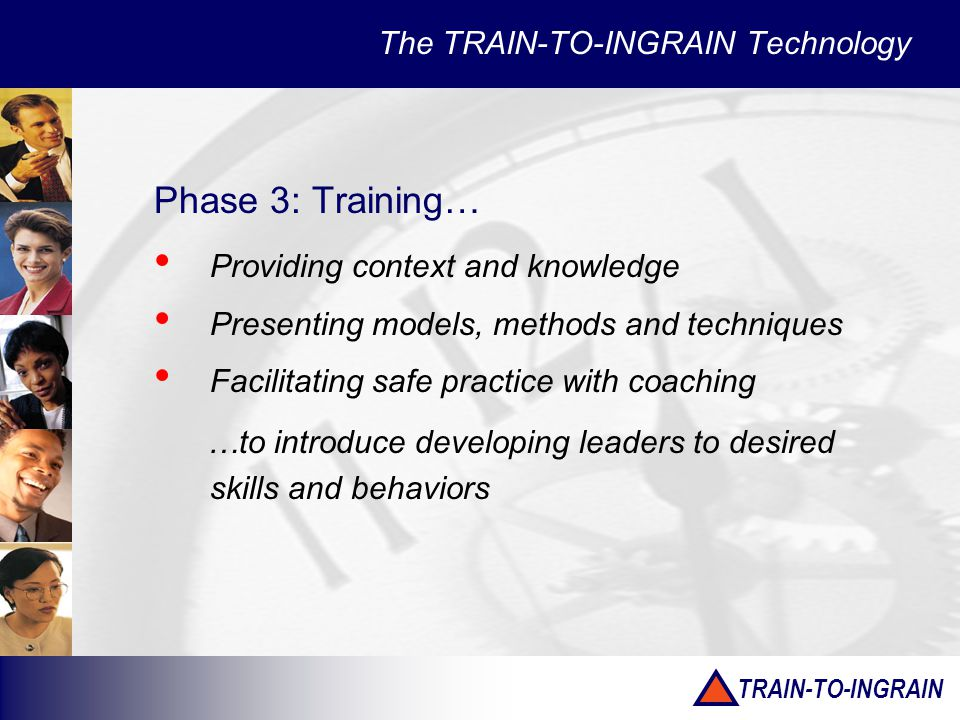TRAIN-TO-INGRAIN The TRAIN-TO-INGRAIN Technology Phase 3: Training… Providing context and knowledge Presenting models, methods and techniques Facilitating safe practice with coaching …to introduce developing leaders to desired skills and behaviors