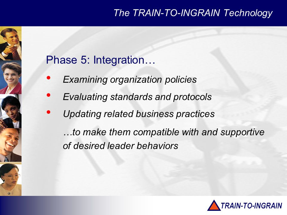 TRAIN-TO-INGRAIN The TRAIN-TO-INGRAIN Technology Phase 5: Integration… Examining organization policies Evaluating standards and protocols Updating related business practices …to make them compatible with and supportive of desired leader behaviors