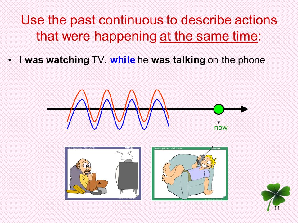 11 Use the past continuous to describe actions that were happening at the same time: I was watching TV. while he was talking on the phone. now