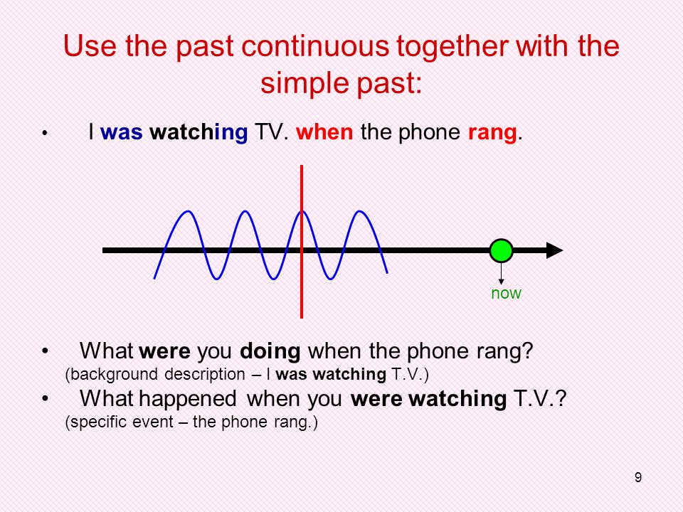 9 Use the past continuous together with the simple past: I was watching TV.