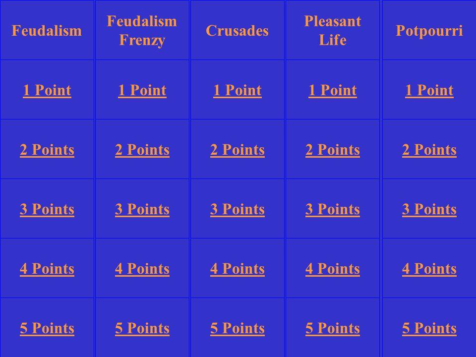 Feudalism Frenzy Pleasant Life Potpourri 1 Point 2 Points 3 Points 4 Points 5 Points 1 Point 2 Points 3 Points 4 Points 5 Points 3 Points 4 Points 5 Points CrusadesFeudalism