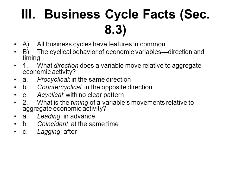 III.Business Cycle Facts (Sec.