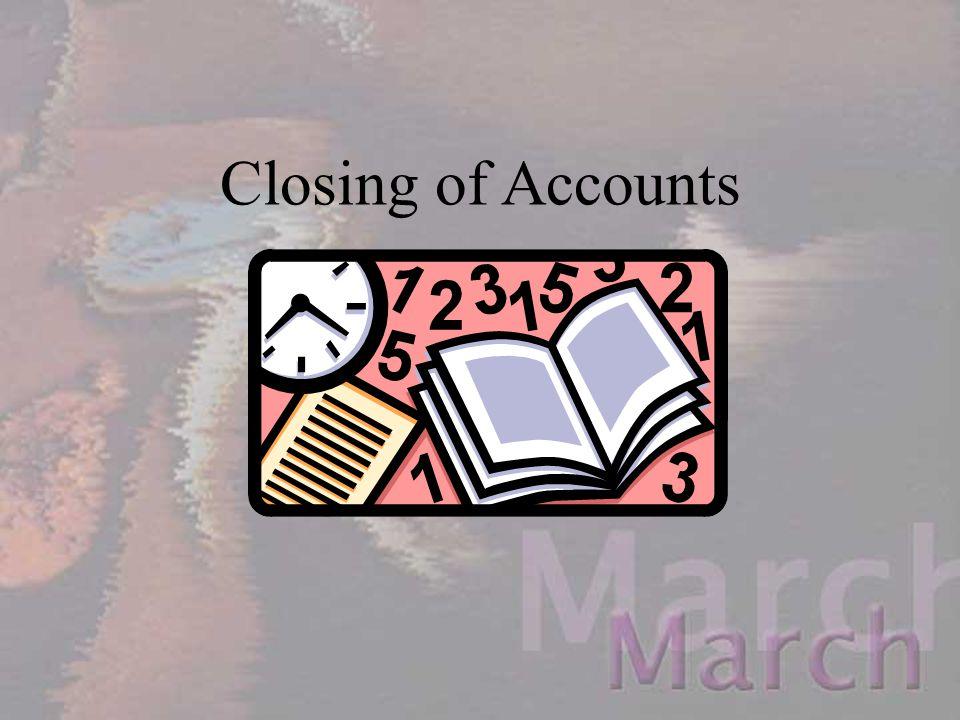 Closing of Accounts