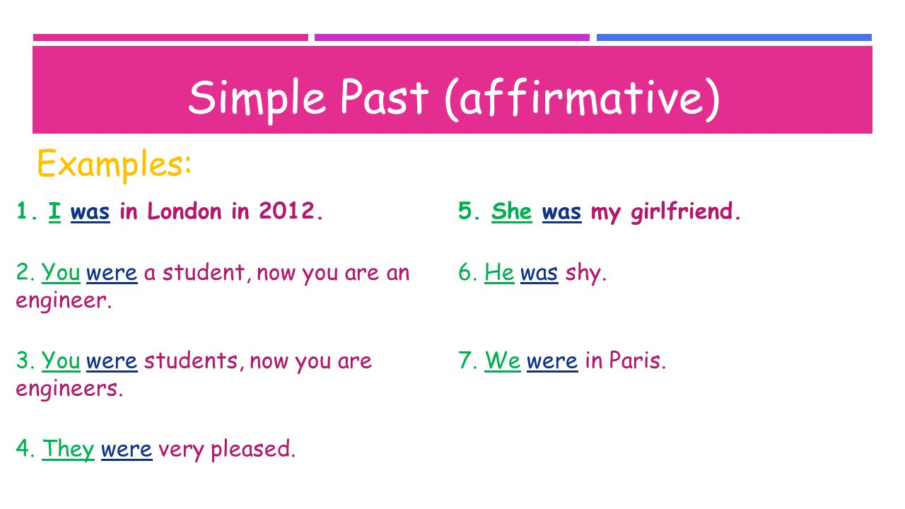 Simple Past (negative) SingularPlural I was not/ wasn'tWe were not/ weren't You were not/ weren't He, She, It was not/ wasn'tThey were not/ weren't